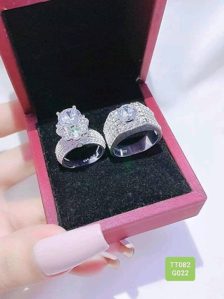 Nhẫn đôi đính đá siêu dễ thương M15